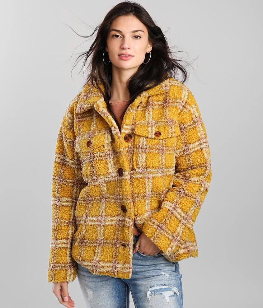 Vigoss Plaid Faux Fur Sherpa Coat front view