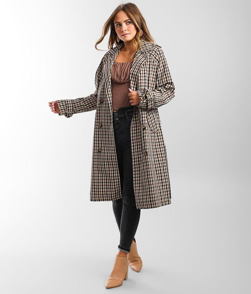 Vigoss Plaid Trench Jacket front view