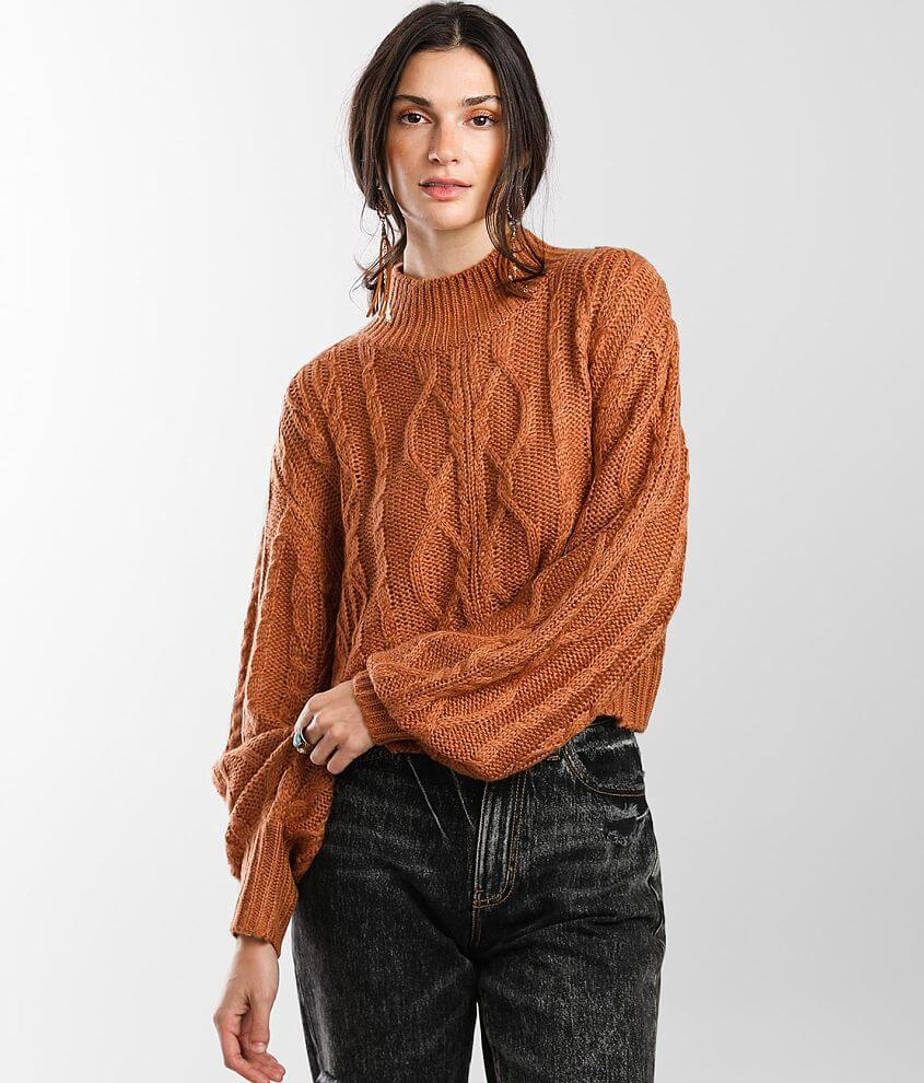 Vigoss Cable Knit Cropped Sweater front view