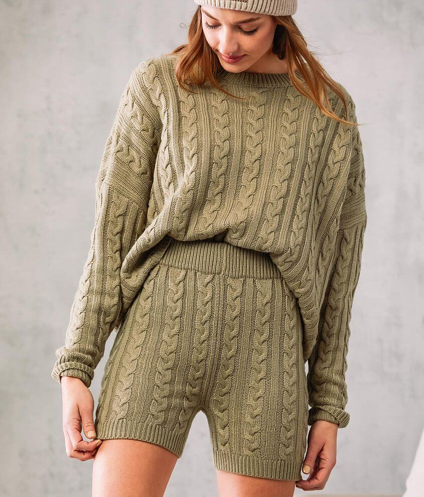 Fade by BKE Cable Knit Sweater Short front view