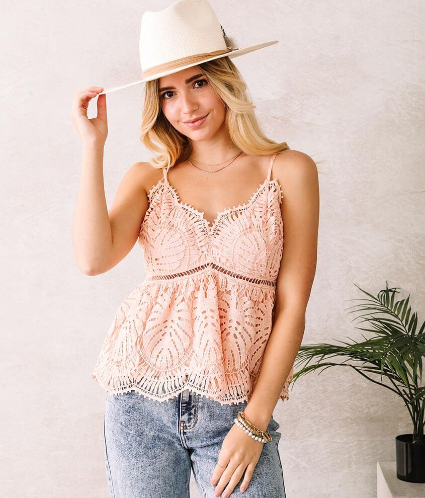 Willow & Root Lace Babydoll Tank Top front view