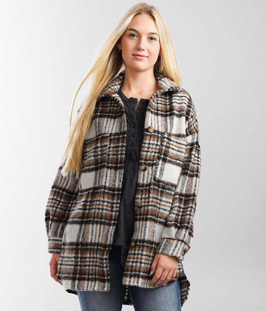 A. Peach Plaid Wool Blend Jacket front view
