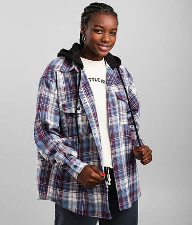 A. Peach Hooded Flannel Shirt