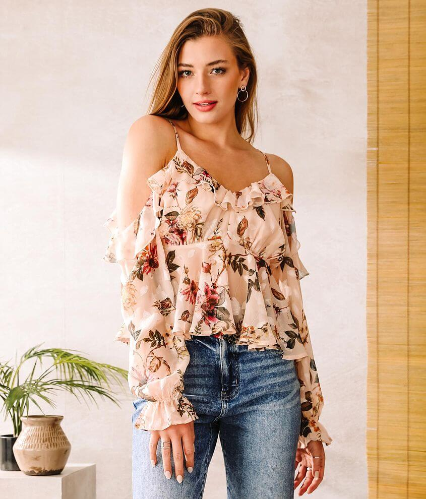 A. Peach Chiffon Cold Shoulder Ruffle Top front view