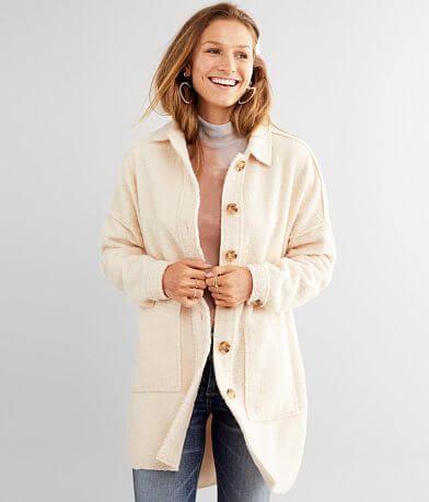 A. Peach Sherpa Fleece Jacket