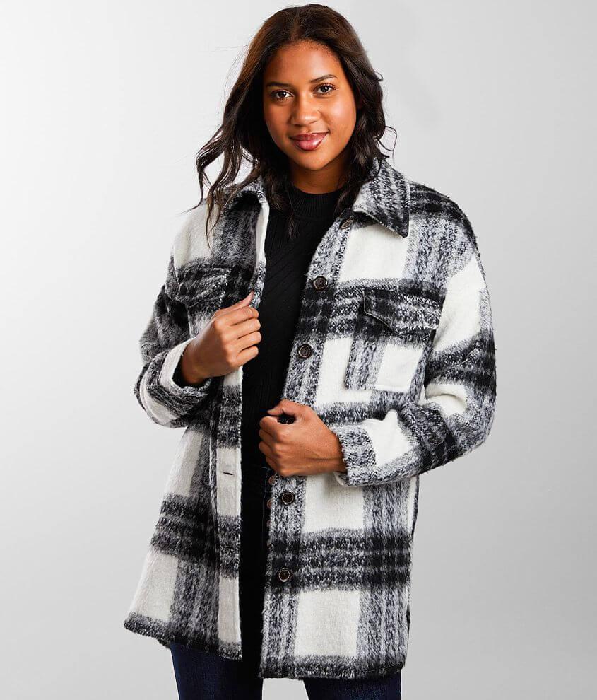 Buckle Black Plaid Wool Blend Jacket front view