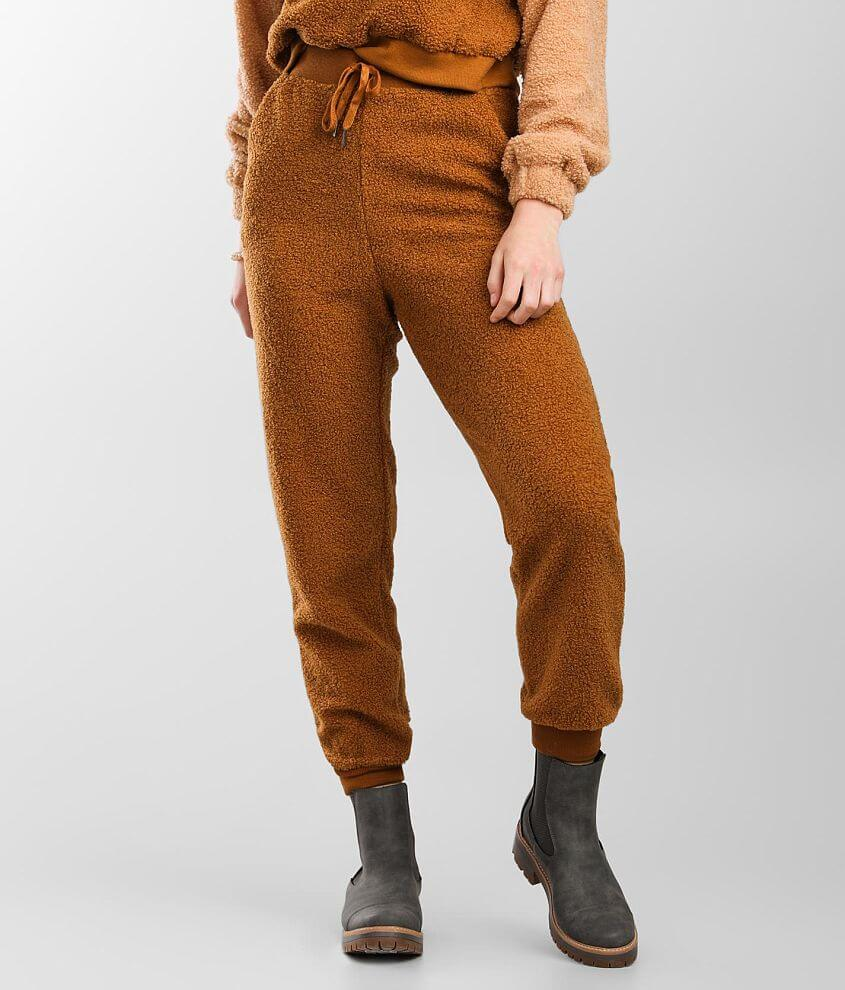 A. Peach Teddy Jogger Sweatpant front view