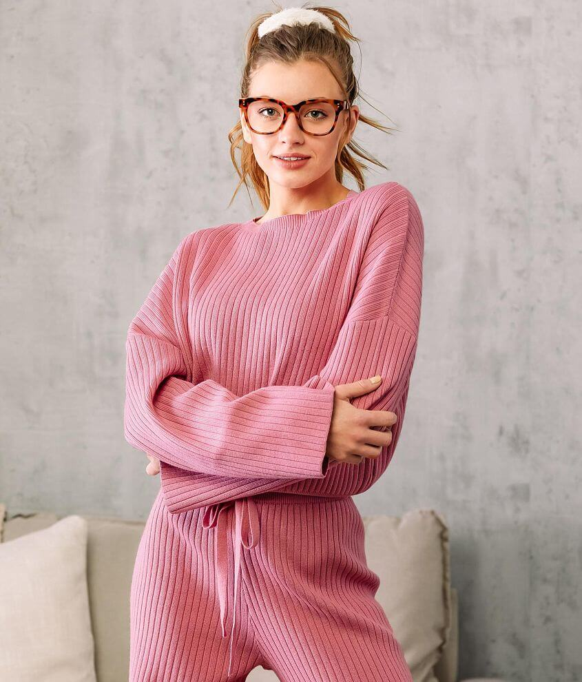 Fade by BKE Ribbed Drop Shoulder Sweater front view