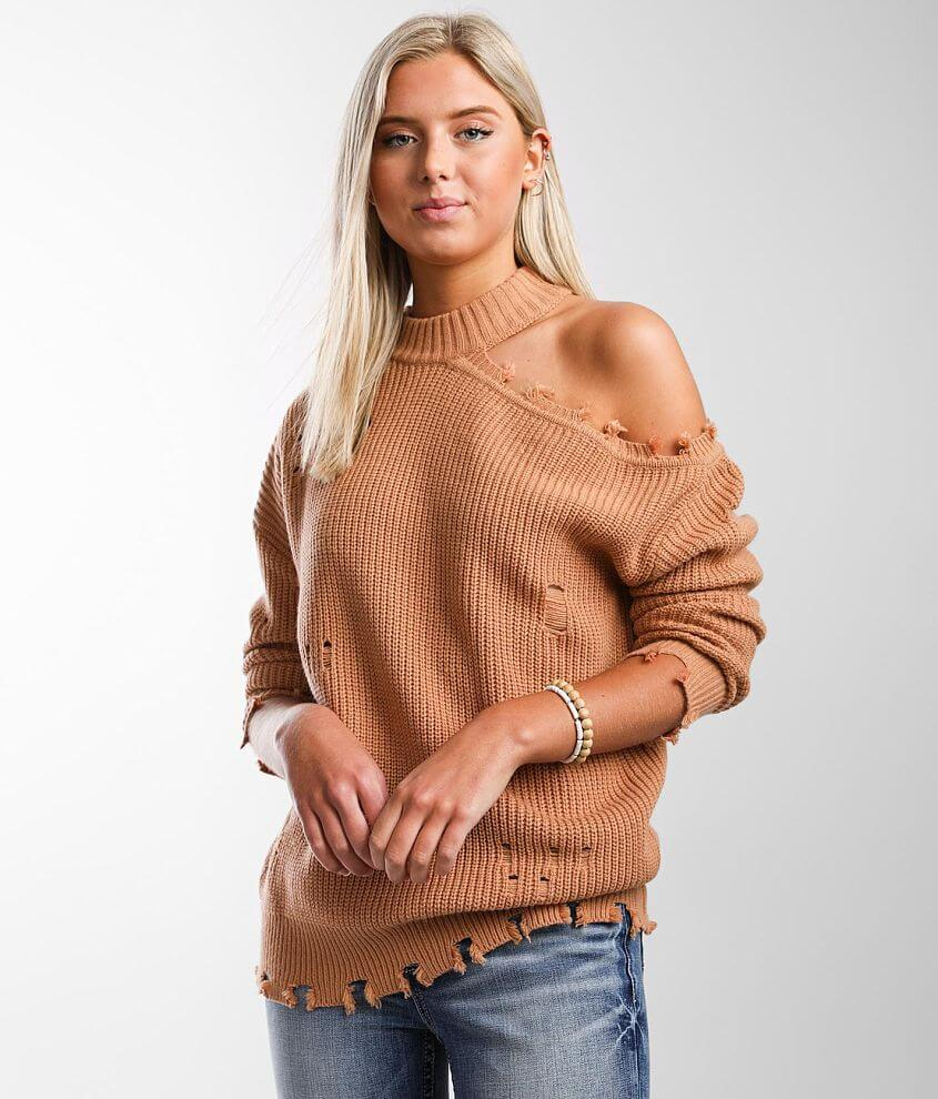 Daytrip Cut-Out Shoulder Sweater front view