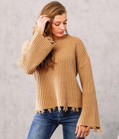 Willow & Root Metallic Destructed Knit Sweater