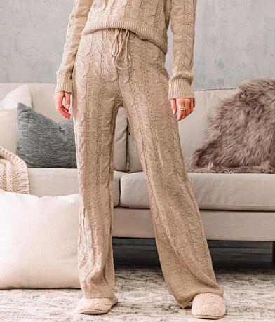 A. Peach Cable Knit Wide Leg Pant