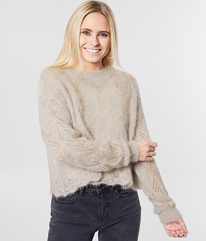 red by BKE Rainbow Shimmer Pointelle Sweater front view