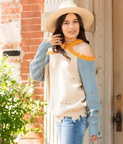 Daytrip Distressed Cold Shoulder Sweater