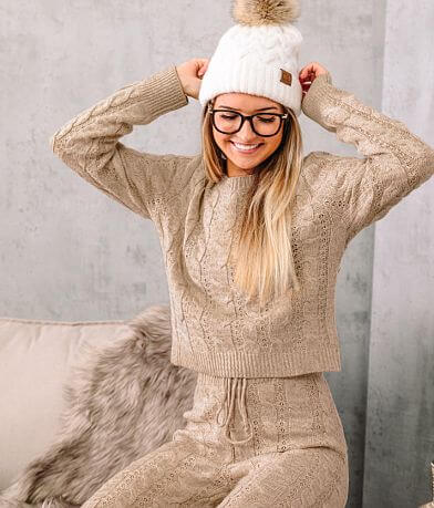 A. Peach Cable Knit Cropped Sweater