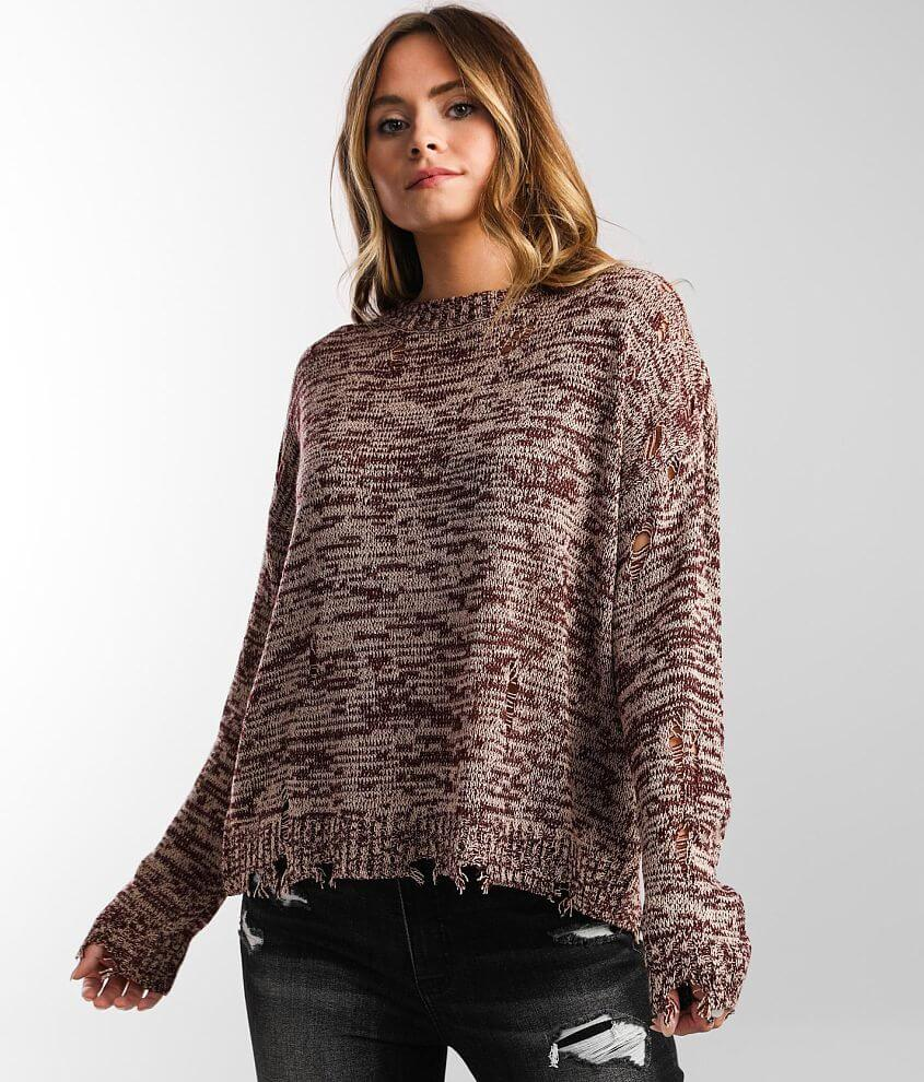Daytrip Destructed Pullover Sweater front view