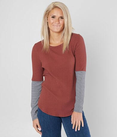 BKE Ribbed Scoop Neck Top