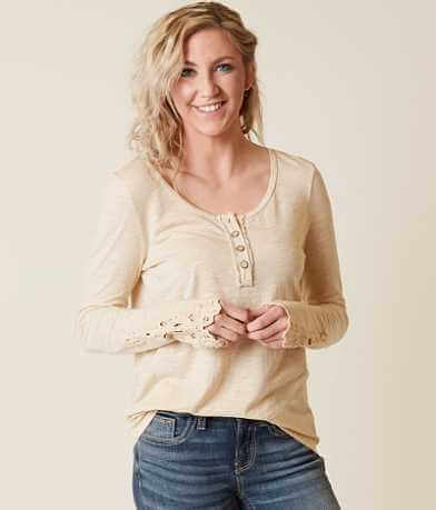 BKE Slub Knit Henley Top