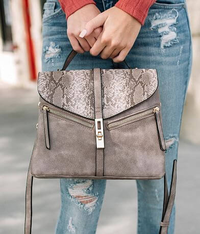 Violet Ray Faux Snakeskin Purse