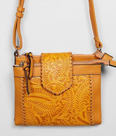 Violet Ray Embossed Floral Crossbody Purse