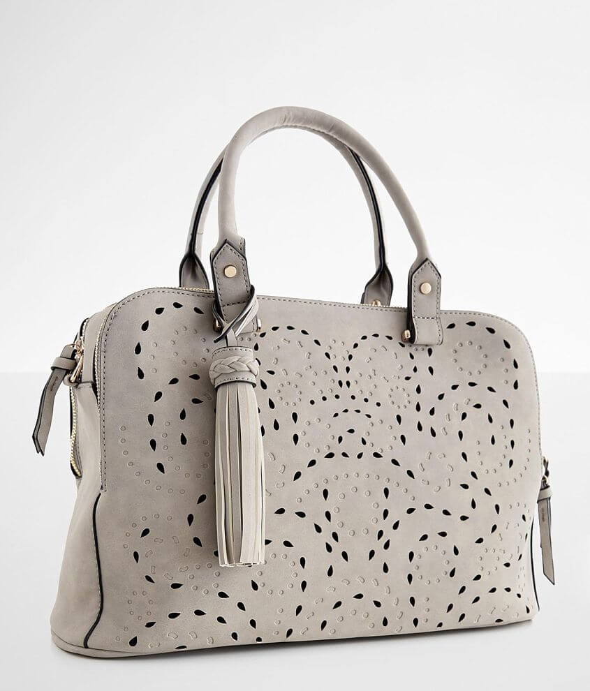 Perforated faux leather structured fabric lined purse Zipper closures Interior zipper and two pouch pockets Removable crossbody strap Dimensions: 15 1/4\\\