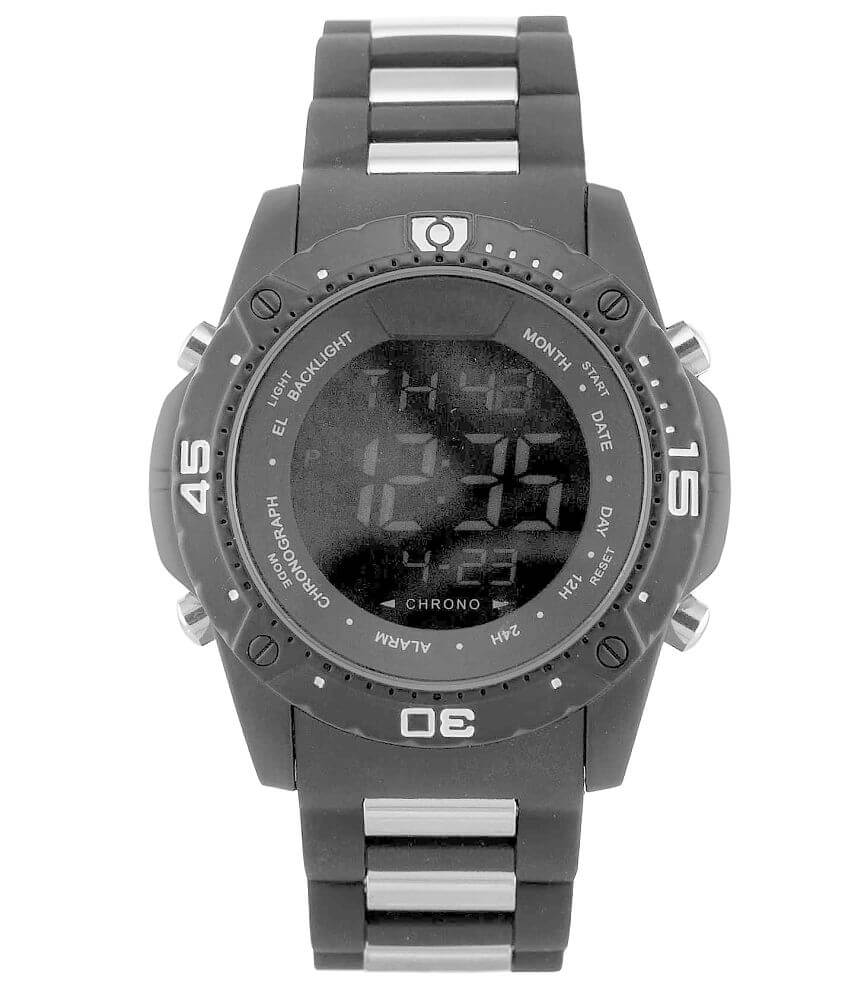 Accutime Black Dial Watch front view