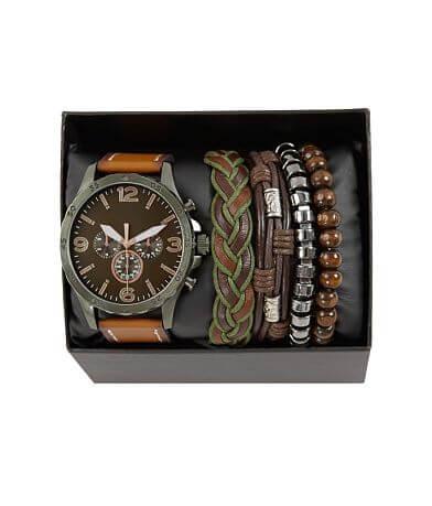 Accutime Watch & Bracelet Set
