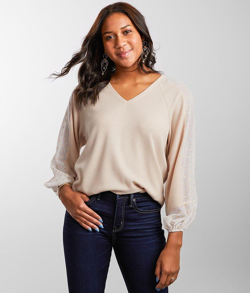 Daytrip Metallic Embroidered Sleeve Thermal Top front view