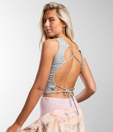 Gilded Intent Strappy Open Back Cropped Tank Top