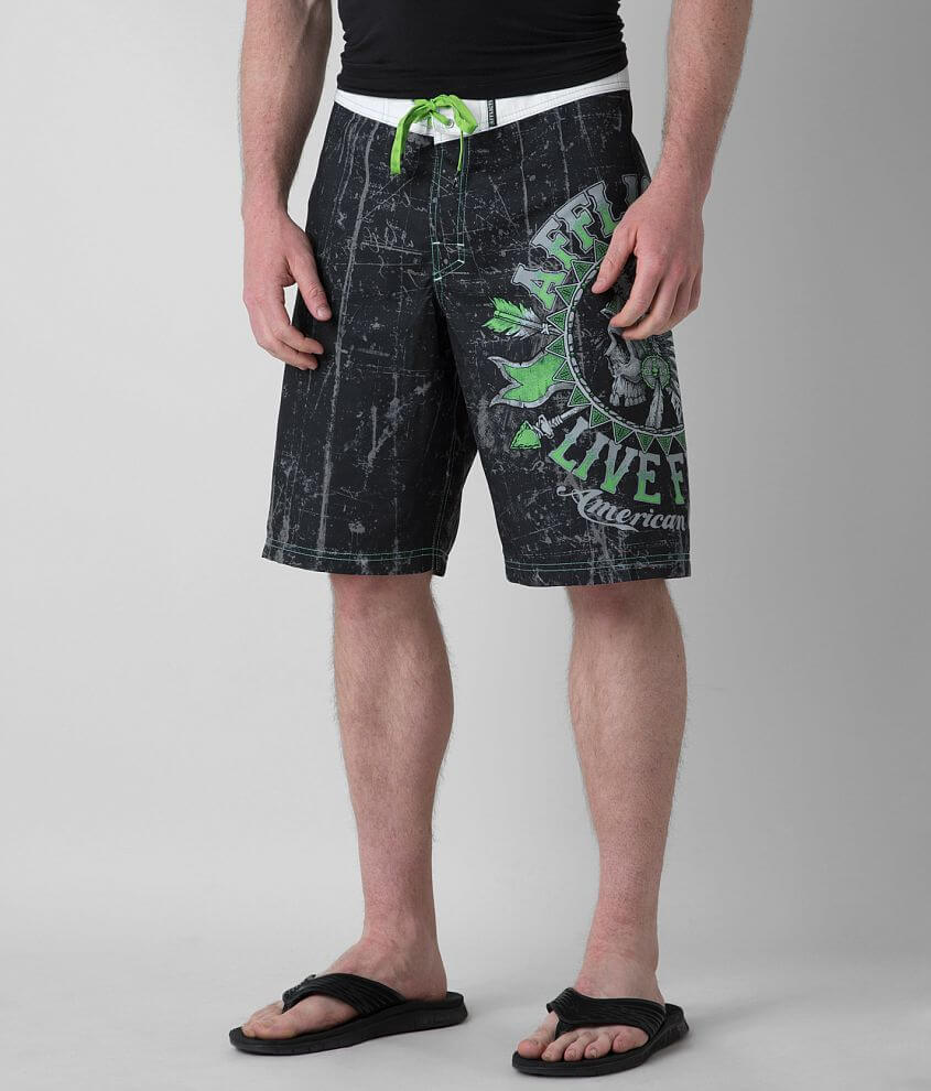 Affliction Black Premium Stampede Boardshort front view