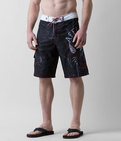 Affliction Black Premium Wild Wing Boardshort