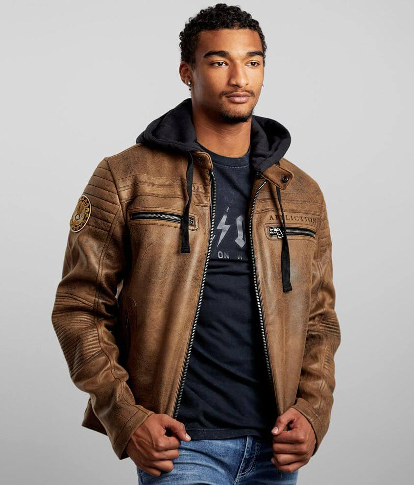 Affliction Hostile Distressed Faux Leather Jacket front view