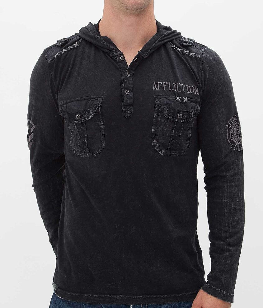 Affliction Kickoff Henley Hoodie front view