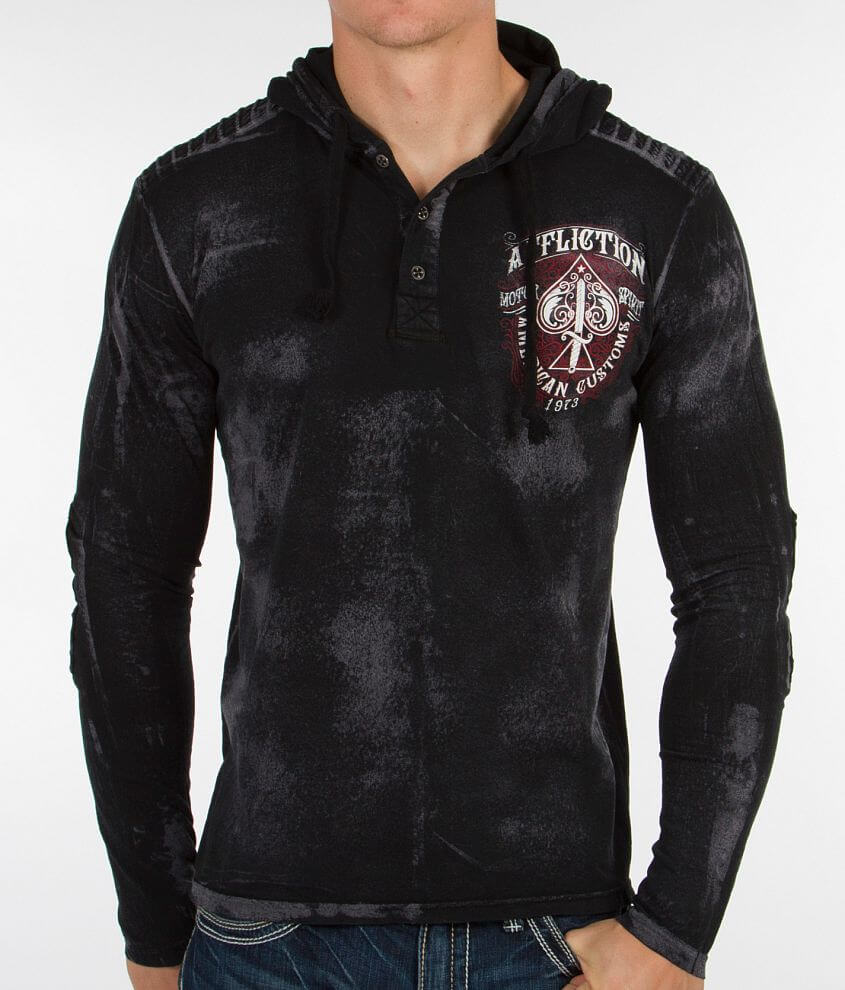 Affliction Transitional Henley Hoodie front view