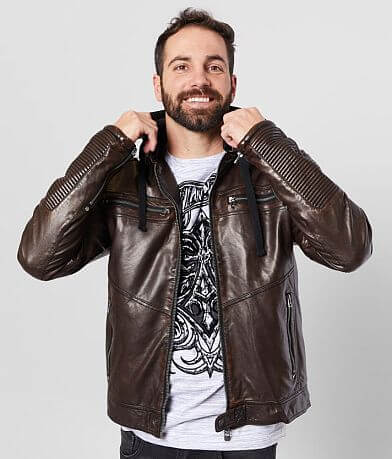 Affliction Chapter Hooded Faux Leather Jacket