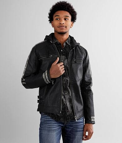Affliction Prospect Hooded Faux Leather Jacket