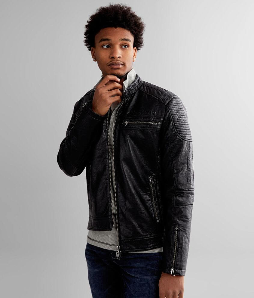 Black Label Series Tonal skull and rose embroidered zip front jacket Quilted lining Front zipper pockets Interior pocket Zipper sleeve vents Model Info: Height: 6\\\'3\\\