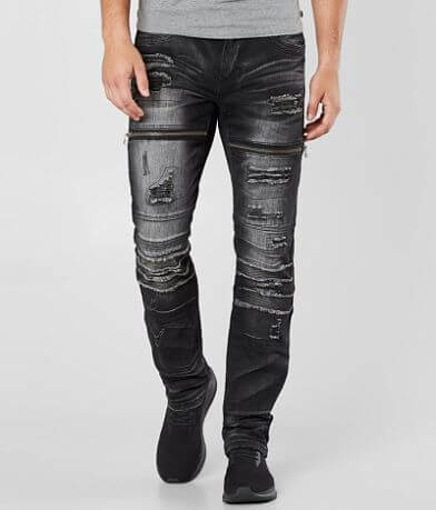 Affliction Black Premium Gage Moto Stretch Jean