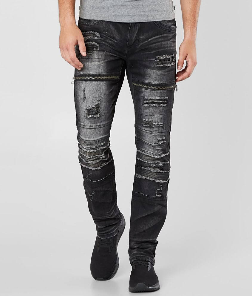 Affliction Black Premium Gage Moto Stretch Jean front view
