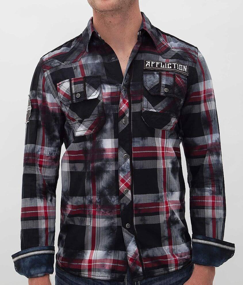 Affliction Black Premium Silver Blade Shirt front view