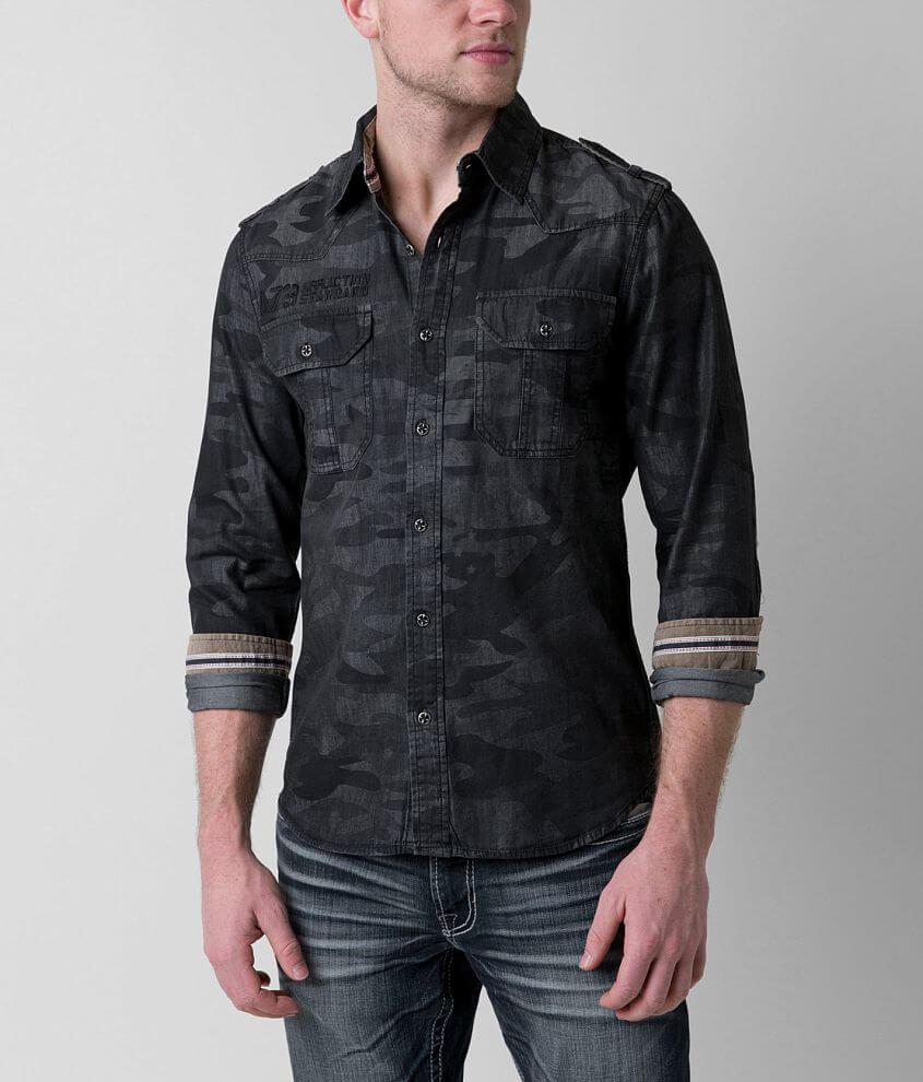 Affliction Black Premium Stone Sinners Shirt front view