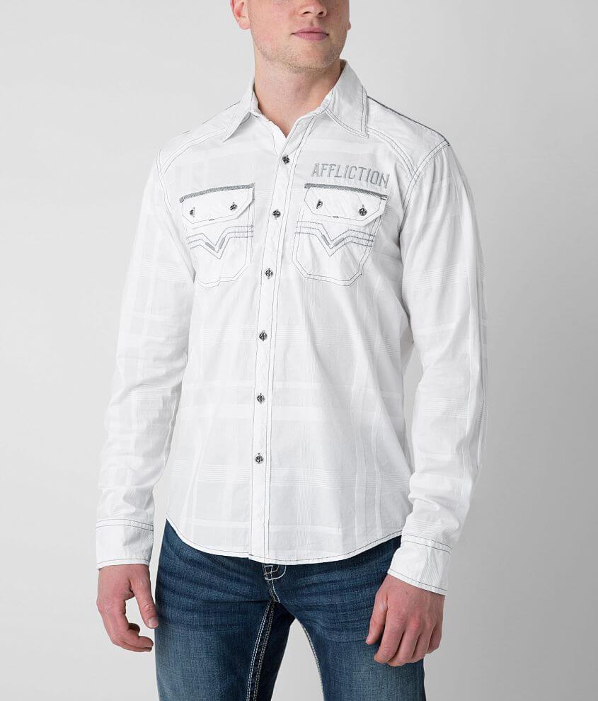 Affliction Black Premium White Cloud Stretch Shirt front view