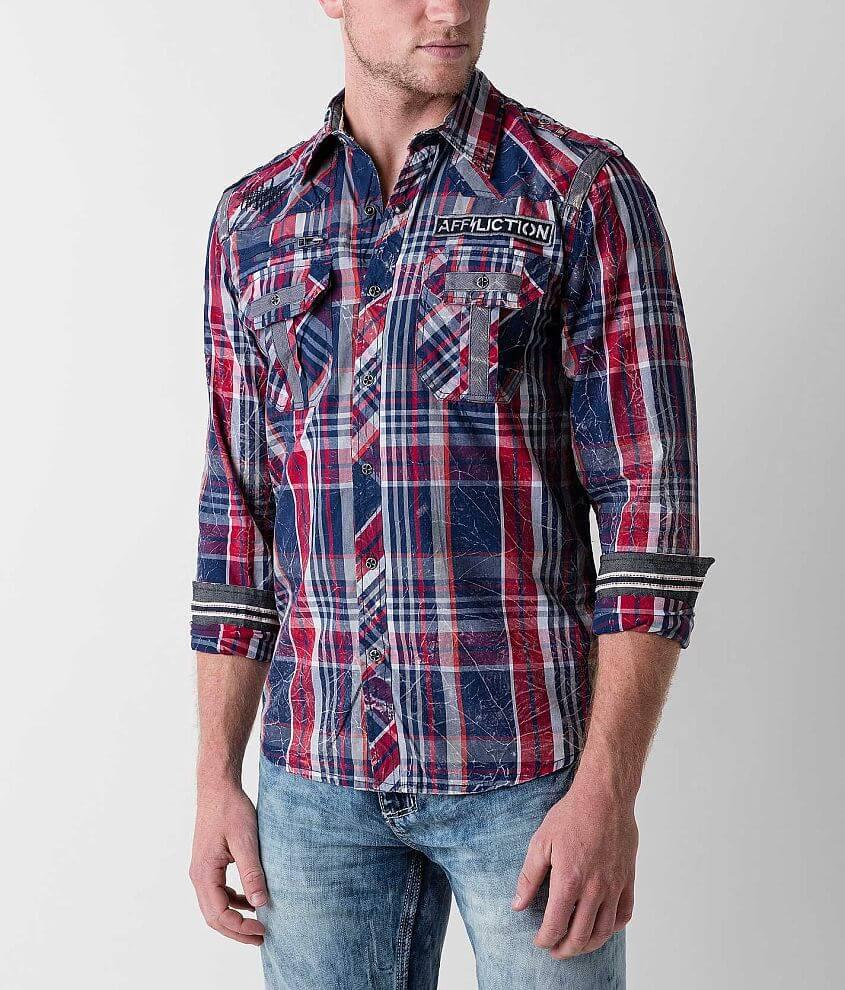 Affliction Black Premium Strike Down Shirt front view