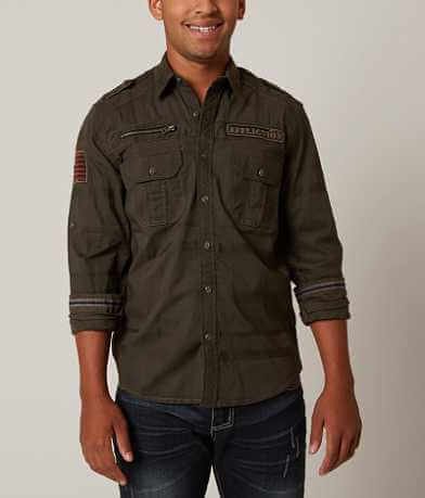 Affliction Black Premium Action Army Stretch Shirt