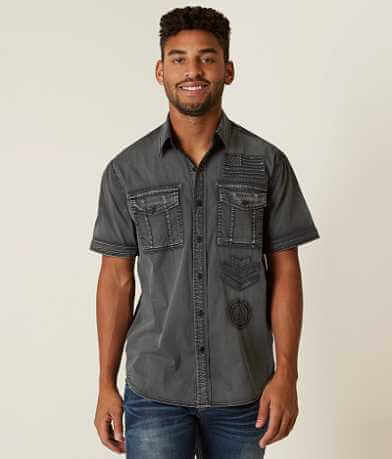 Affliction Black Premium Eagle Wing Stretch Shirt