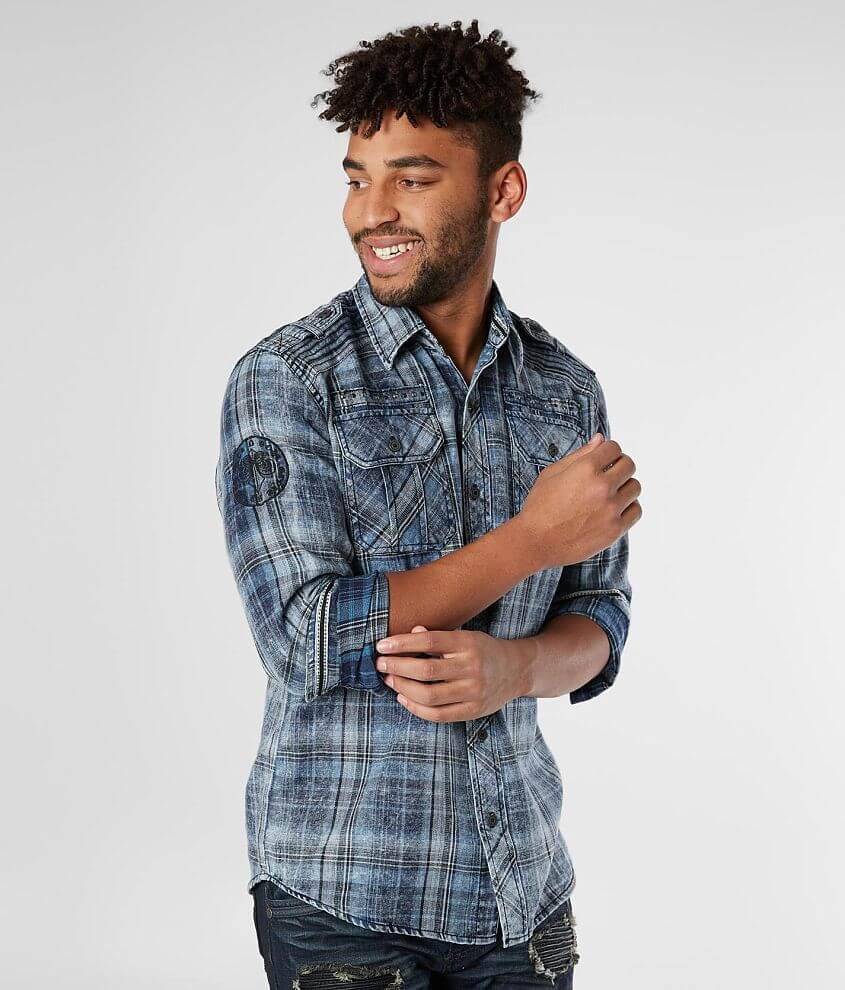 Washed plaid embroidered button front shirt Patch sleeve hits Shoulder tab, epaulet, raw edge and stud details Model Info: Height: 6\\\'0\\\