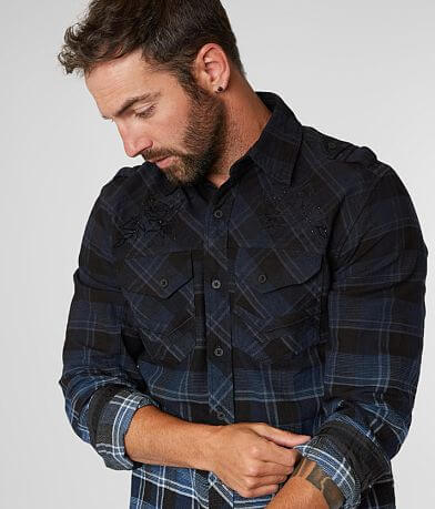 Affliction Catalyst Woven Plaid Shirt