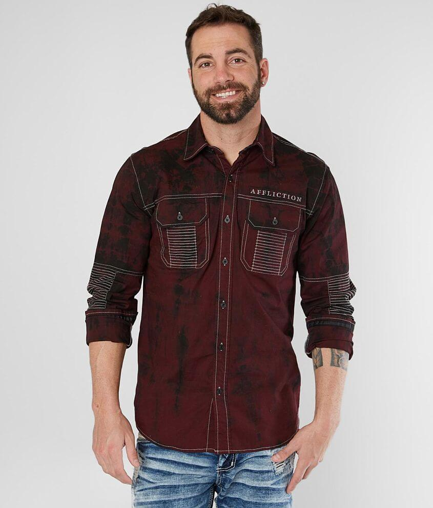 Affliction Banish Washed Stretch Shirt front view