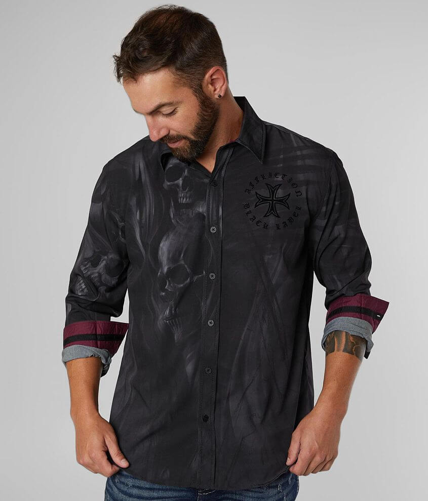 Black Label Series Flocked graphic skull print button front shirt Contrast trim Hydrocore® fabric is anti-wrinkle, lightweight and wicks away sweat to keep you dry Model Info: Height: 5\\\'11\\\