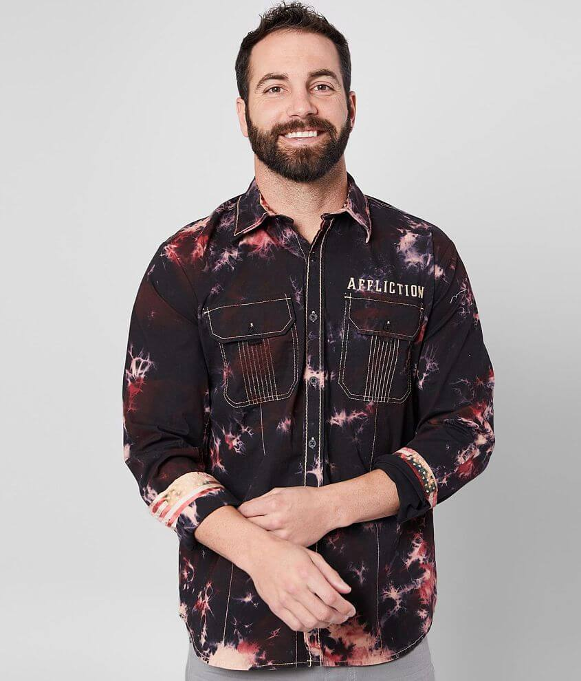 Embroidered button front washed shirt Contrast trim Flocked back skull applique 10% of Affliction\\\'s proceeds from the sale of this garment are donated to the Xtreme Couture G.I. Foundation which benefits America\\\'s forces wounded in action Model Info: Height: 5\\\'11\\\