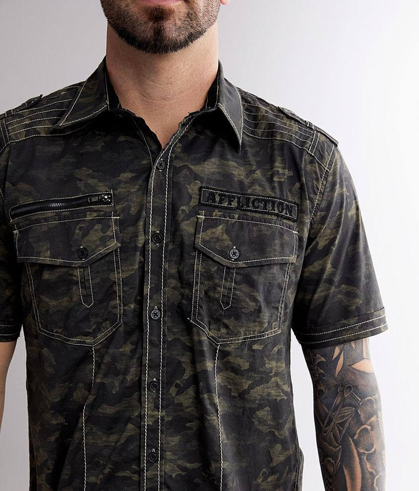 Affliction Inflict Camo Stretch Shirt front view